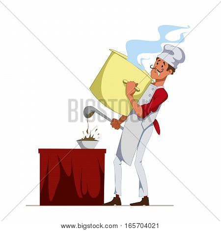 Cook with pan poured soup into a plate using ladle. Chef at the restaurant. Service staff. Vector, isolated illustration EPS10
