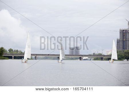Three sailing yacht participating in the sailing competition