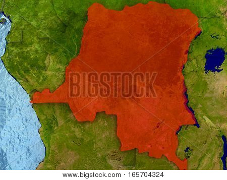 Democratic Republic Of Congo In Red