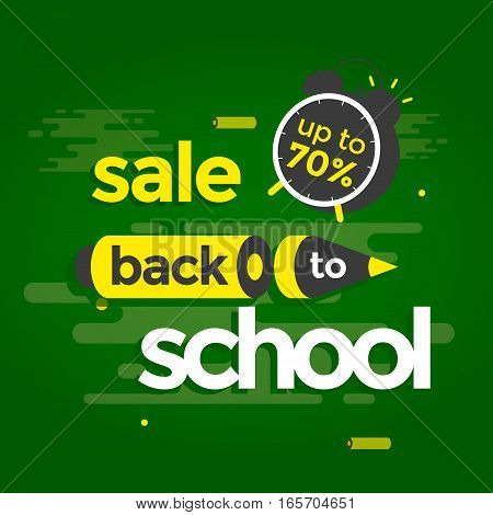 Sale banner back to school. Alarm clock and pencil. Vector illustration