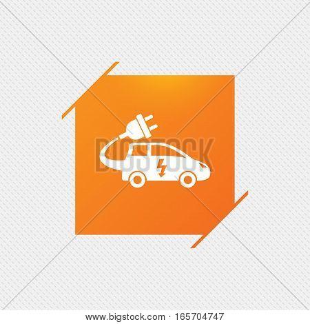 Electric car sign icon. Hatchback symbol. Electric vehicle transport. Orange square label on pattern. Vector