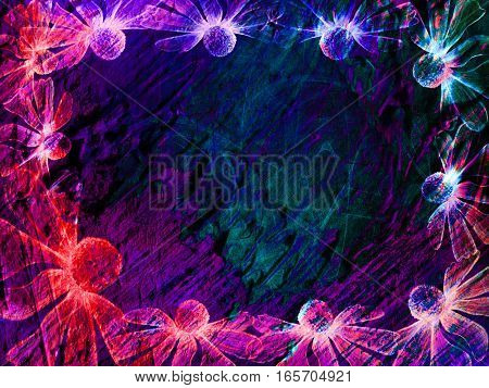 Floral Style Smoke Multicolored Line Ornament Background, Flower Frame Abstract