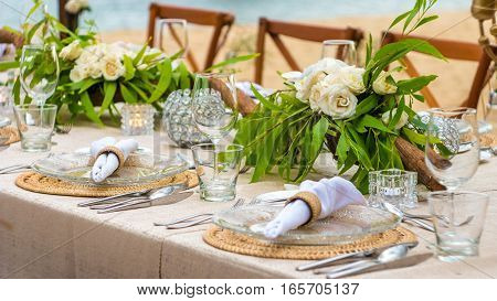 Table in the Restaurant on the Beach, Bali, Indonesia