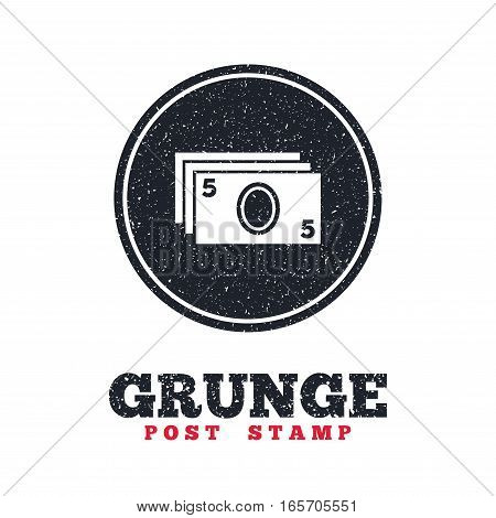 Grunge post stamp. Circle banner or label. Cash sign icon. Paper money symbol. For cash machines or ATM. Dirty textured web button. Vector