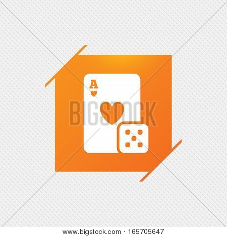 Casino sign icon. Playing card with dice symbol. Orange square label on pattern. Vector