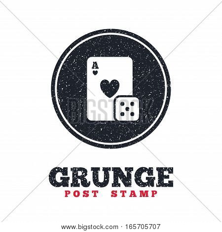 Grunge post stamp. Circle banner or label. Casino sign icon. Playing card with dice symbol. Dirty textured web button. Vector