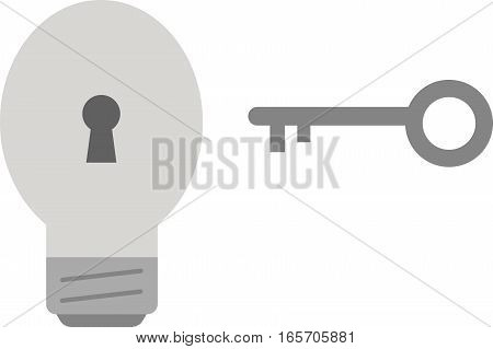 Vector grey light bulb with grey key.