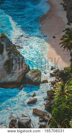 Beautiful Rock in Ocean on Atuh Beach, Nusa Penida, Bali Indonesia