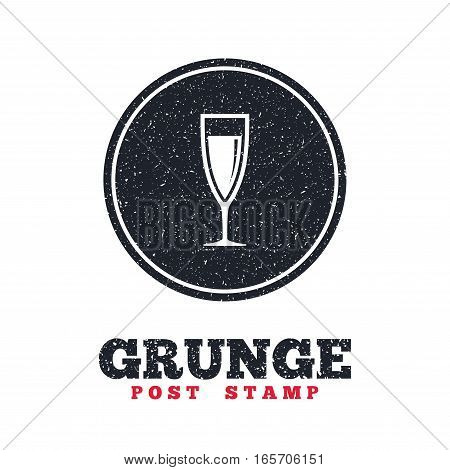 Grunge post stamp. Circle banner or label. Glass of champagne sign icon. Sparkling wine. Celebration or banquet alcohol drink symbol. Dirty textured web button. Vector