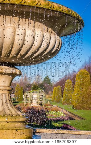 Elegant Fountain With Dripping Water in Regent`s Park, London UK