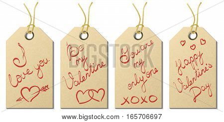 Set of four vintage Valentine's Day gift tags with handwritten greetings on textured kraft paper with twine eyelets eps10 vector illustration