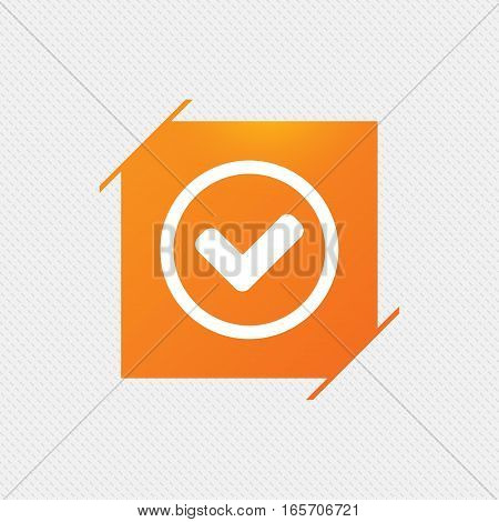Check mark sign icon. Yes circle symbol. Confirm approved. Orange square label on pattern. Vector