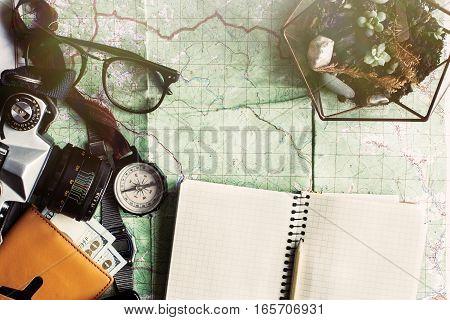 Wanderlust And Adventure Concept, Compass Camera Glasses Passport Money Notebook And Succulents Lyin