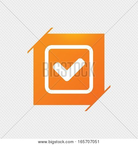 Check mark sign icon. Yes square symbol. Confirm approved. Orange square label on pattern. Vector
