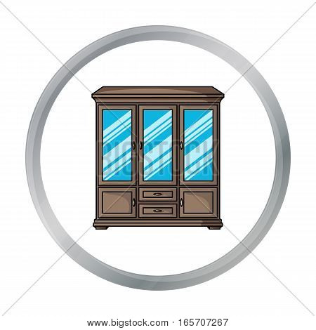 Classical cupboard icon in cartoon style isolated on white background. Furniture and home interior symbol vector illustration.