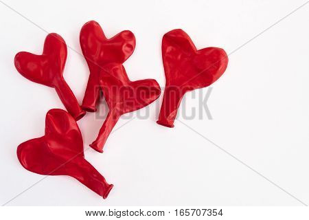 Pile Of Red Heart Balloons, Isolated On White Background, Valentines Greeting Card Concept