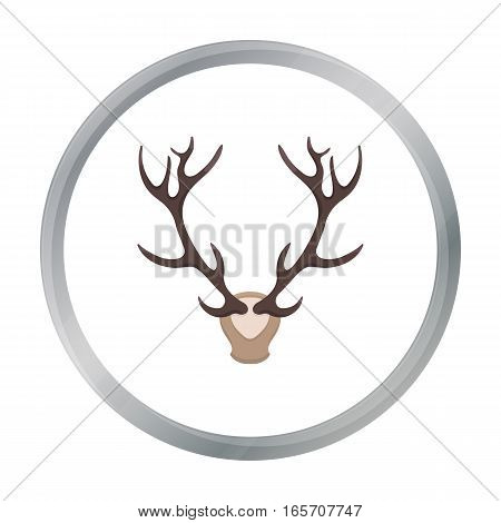 Deer antlers horns icon in cartoon style isolated on white background. Hunting symbol vector illustration.