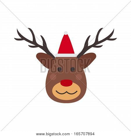 Deer winter wild nature vector illustration. Christmas elk hunting holiday mammal symbol. Reindeer head wildlife cute animal in red santa hat.