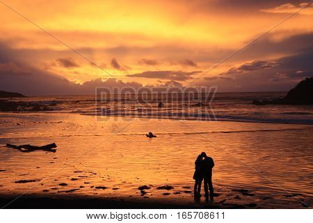Couple watching the sunset at Monkey Island Beach in New Zealand