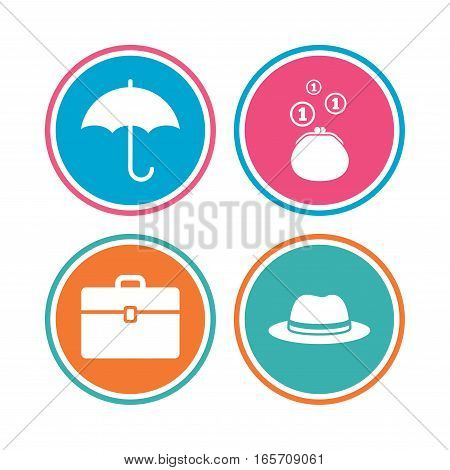 Clothing accessories icons. Umbrella and headdress hat signs. Wallet with cash coins, business case symbols. Colored circle buttons. Vector