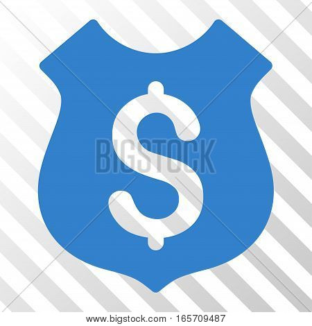 Cobalt Guard Price toolbar pictogram. Vector pictograph style is a flat symbol on diagonal hatch transparent background.