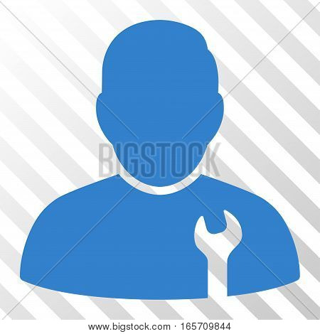 Cobalt Serviceman toolbar icon. Vector pictogram style is a flat symbol on diagonally hatched transparent background.