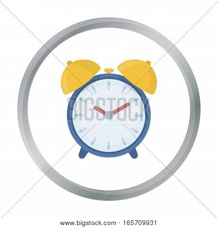 Alarm clock icon in cartoon style isolated on white background. Hotel symbol vector illustration.