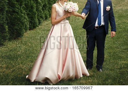 Luxury Bride Holding Groom Hand And Walking, Gorgeous Pink And White Bouquet, Rich Wedding Couple, T