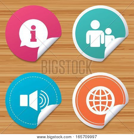 Round stickers or website banners. Information sign. Group of people and speaker volume symbols. Internet globe sign. Communication icons. Circle badges with bended corner. Vector