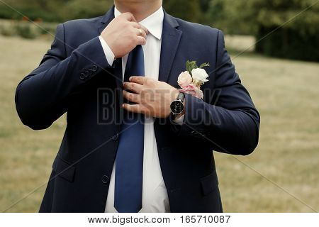 Luxury Boutonniere On Groom Suit Of Pink Roses, Getting Ready In Morning, Stylish Wedding At Botanic