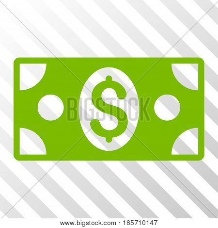 Eco Green Banknote interface pictogram. Vector pictograph style is a flat symbol on diagonal hatch transparent background.