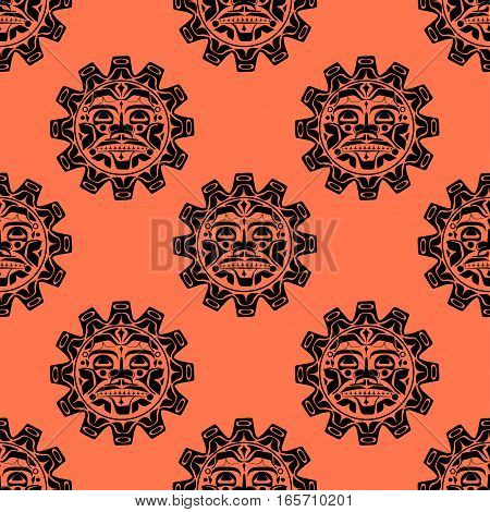 Vector illustration of the sun symbol. Modern stylization of North American and Canadian native art seamless pattern