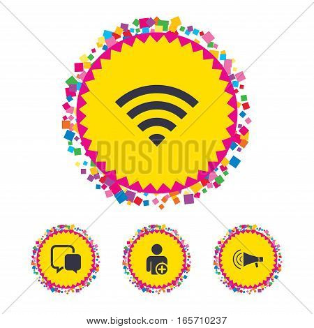 Web buttons with confetti pieces. Wifi and chat bubbles icons. Add user and megaphone loudspeaker symbols. Communication signs. Bright stylish design. Vector