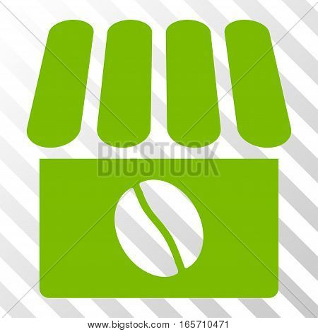 Eco Green Coffee Shop interface toolbar icon. Vector pictogram style is a flat symbol on diagonally hatched transparent background.
