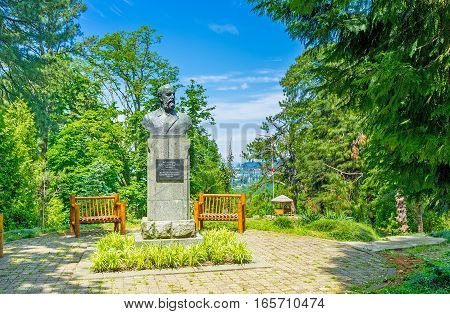 BATUMI GEORGIA - MAY 25 2016: The monument to the Russian botanist Andrey Krasnov the creator of Botanical Garden on May 25 in Batumi.
