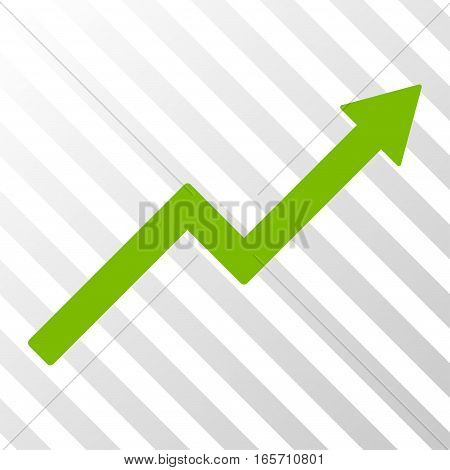 Eco Green Growth Trend Chart interface icon. Vector pictogram style is a flat symbol on diagonally hatched transparent background.
