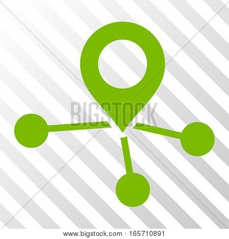 Eco Green Locations interface icon. Vector pictogram style is a flat symbol on diagonal hatch transparent background.