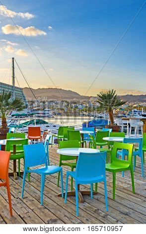 Evening In Cafe Of Eilat