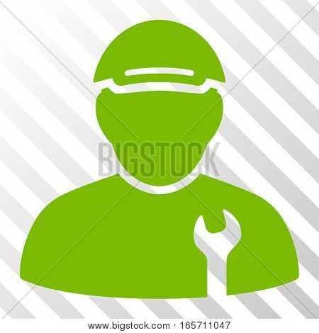Eco Green Mechanic toolbar pictogram. Vector pictograph style is a flat symbol on diagonally hatched transparent background.