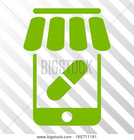 Eco Green Online Pharmacy interface toolbar pictogram. Vector pictogram style is a flat symbol on diagonal hatch transparent background.
