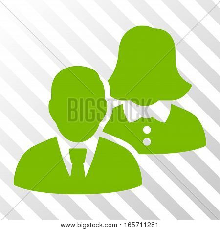 Eco Green People interface pictogram. Vector pictograph style is a flat symbol on diagonally hatched transparent background.