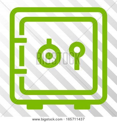 Eco Green Safe toolbar pictogram. Vector pictogram style is a flat symbol on diagonally hatched transparent background.