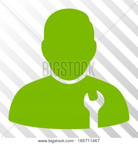 Eco Green Serviceman interface pictogram. Vector pictograph style is a flat symbol on diagonally hatched transparent background.