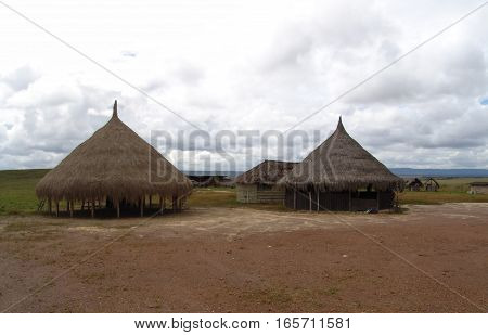 Two Huts at Canaima with a beautiful sky