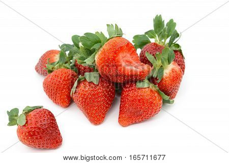 Group Of Fresh Strawberry On White Background