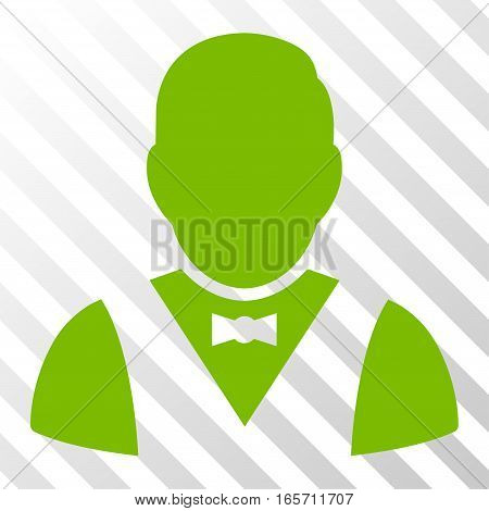 Eco Green Waiter toolbar pictogram. Vector pictograph style is a flat symbol on diagonal hatch transparent background.