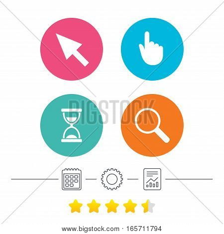 Mouse cursor and hand pointer icons. Hourglass and magnifier glass navigation sign symbols. Calendar, cogwheel and report linear icons. Star vote ranking. Vector