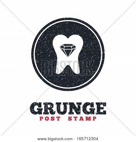 Grunge post stamp. Circle banner or label. Tooth crystal icon. Tooth jewellery sign. Dental prestige symbol. Dirty textured web button. Vector