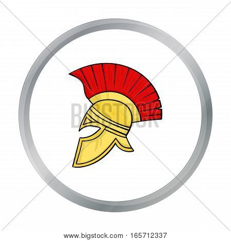 Roman soldier s helmet icon in cartoon style isolated on white background. Italy country symbol vector illustration.