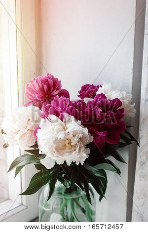 Beautiful Bunch Of Peonies In Vase On Wooden White Window Sill Background, Rustic Wallpaper Concept,